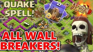 Clash Of Clans | ALL WALL BREAKERS & EARTHQUAKE SPELLS | 3 STARRING A VILLAGE! OMG! FUNNY MOMENTS