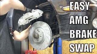 I Installed Massive E55 AMG Brakes On My Turbo Diesel Mercedes & It Was So Easy! Factory Big Brakes!