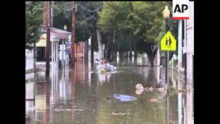 In Port Deposit, Maryland some residents paddled canoes in four feet of water covering Main Street w
