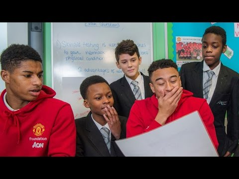 Marcus Rashford and Jesse Lingard learn more about Manchester United Foundation partner schools