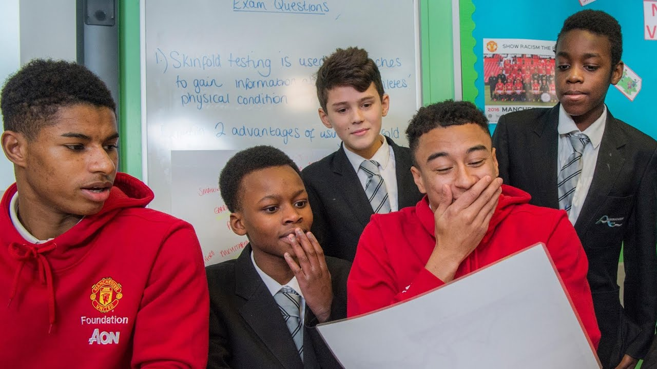 Marcus Rashford And Jesse Lingard Learn More About Manchester United Foundation Partner Schools Youtube