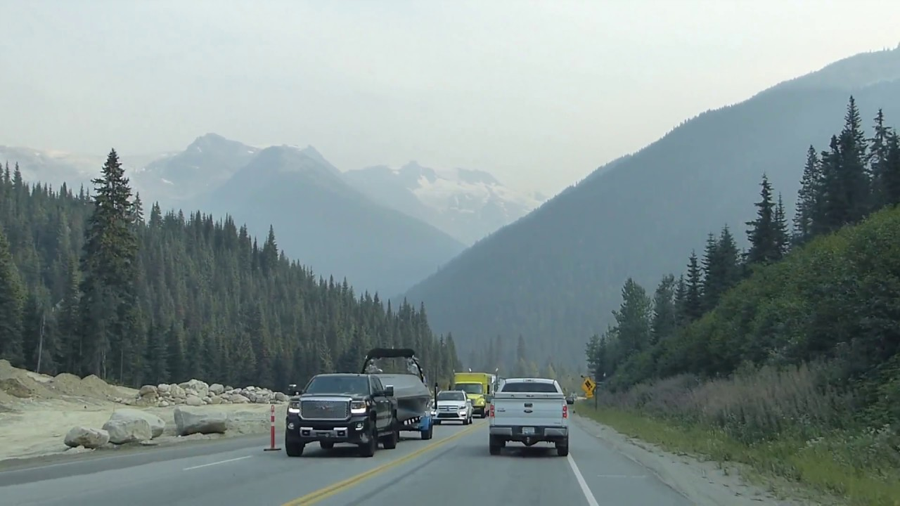 Driving Highway 1 - Rogers Pass - Glacier National Park - British Columbia - Canada