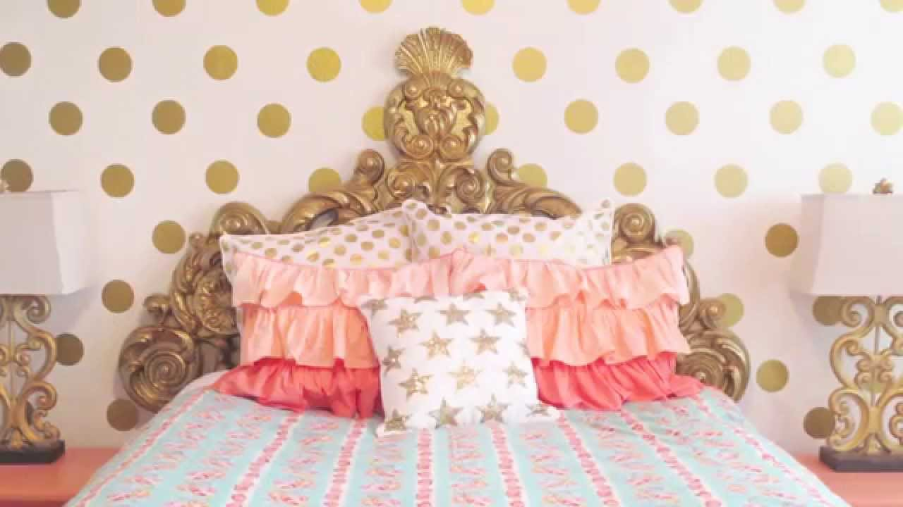 Gold Polka Dot Wall Decals   Decor Trend Alert   YouTube