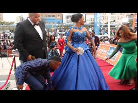 Bishop Mpendulo Nkambule and His wife Zanele laMbokazi Nkambule during red carpet.