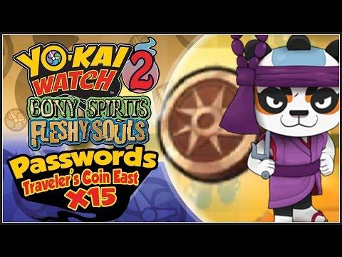 Yo-Kai Watch 2 - ALL 15 Traveler's Coin East Passwords! Panja Pupil! [YW2 Tips & Tricks]