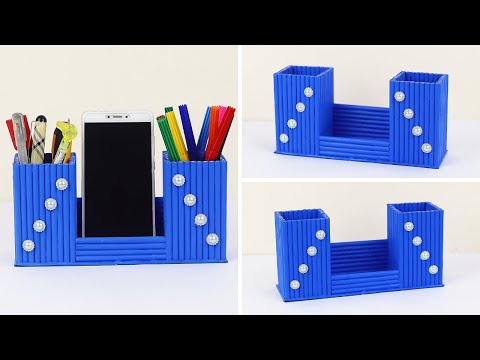 How To Make a Pen Holder and Phone Holder from Waste Paper | DIY Newspaper Pen Holder