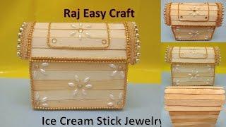 How to make Ice Cream Stick Jewelry Box | popsicle stick crafts |DIY