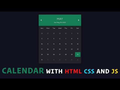 Calendar With HTML, CSS, And JavaScript - How To Build Calendar Using HTML, CSS, And JavaScript