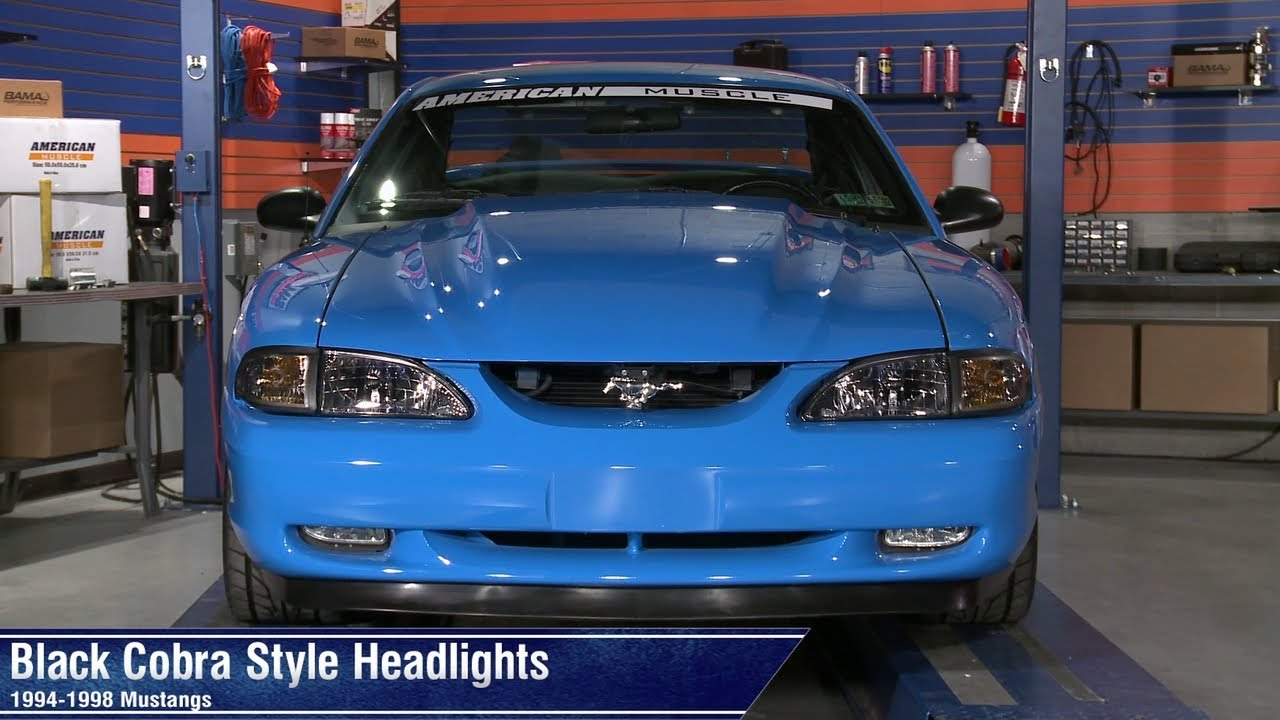 mustang black cobra style headlights 94 98 all review [ 1280 x 720 Pixel ]