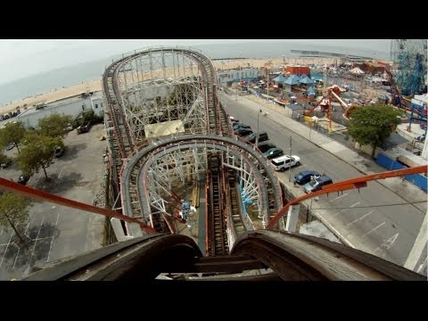 Coney Island Cyclone Roller Coaster POV Front Seat New York City