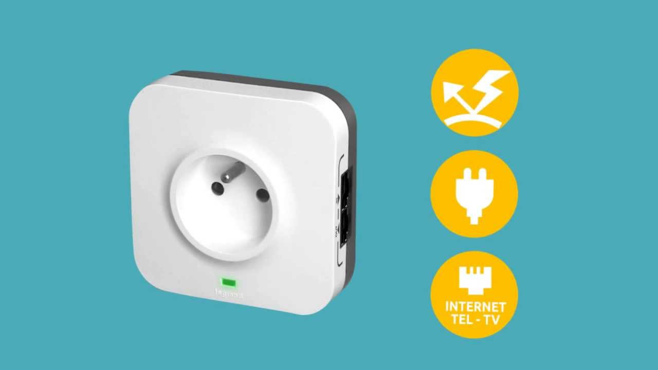 surge protected socket with data socket french standard [ 1280 x 720 Pixel ]