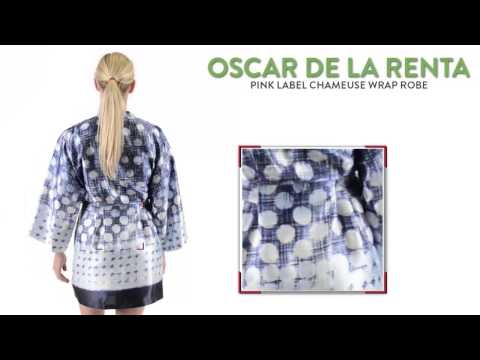 Oscar de la Renta Pink Label Charmeuse Wrap Robe - Long Sleeve (For Women)