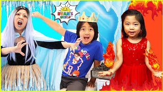 Ryan and Fire vs Ice Queen Frozen House Part 2!!!