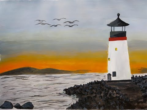 LIGHT HOUSE PAINTING TUTORIAL ACRYLIC STEP BY STEP by neethu's paint art studio