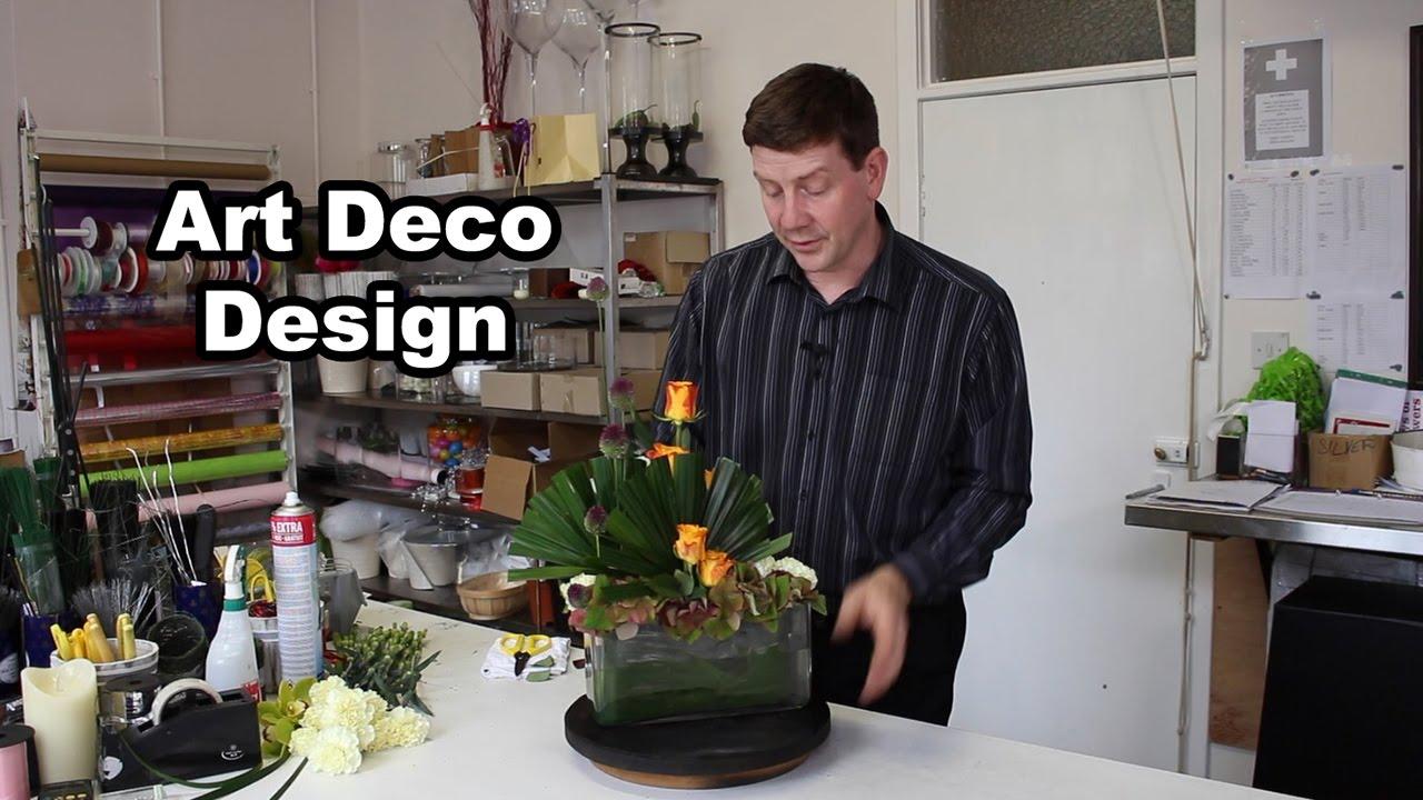 Art Deco Design Featuring Roses Allium And Palm Youtube