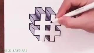 cara menggambar hashtag  dalam 3D