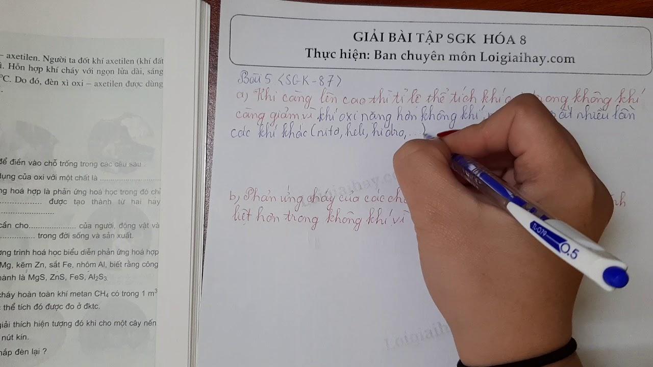 Giải bài 5 trang 87 SGK Hóa học 8