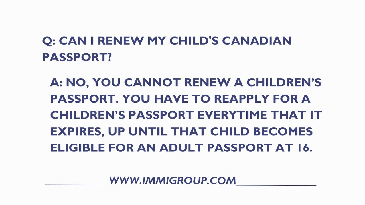 How to renew a childs expired canadian passport