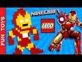 Iron Man on Minecraft or Lego! Build it! Captain America Civil War #TeamIronMan vs #TeamCap Who wins: In this video you can learn to build an Iron Man in the 8-bit style (similar to video game character Mario Bros or PacMan) with Lego pieces or if you prefer, in Minecraft.  We started a competition to find out which super hero has more fans, Iron Man or Captain America ? Are you#TeamIronMan or #TeamCap ?  To help your favorite hero watch the video, click the like button and comment. We will be counting video views, likes and comments to decide wich hero wins! Share the video of your favorite hero and ask your friends to participate!  Do not forget to LIKE and SHARE the video. And please Subscribe: https://www.youtube.com/funtoysbrinquedosvideos/videos?sub_confirmation=1  Comment below if you liked the