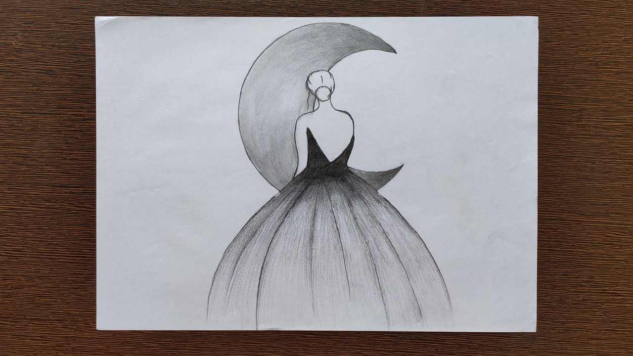 Easy Girl And Moon Pencil Drawing Youtube