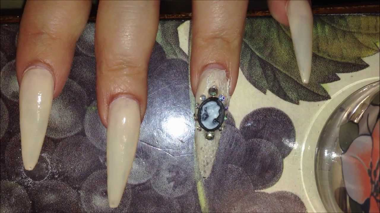 Acrylic Nails- long stiletto - YouTube