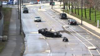 The CW pilot for The Flash films a crash and explision scene March 9, 2014