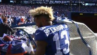 Odell Beckham Jr VENTS FRUSTRATION on Sideline Gets Hit by Practice Net vs Redskins