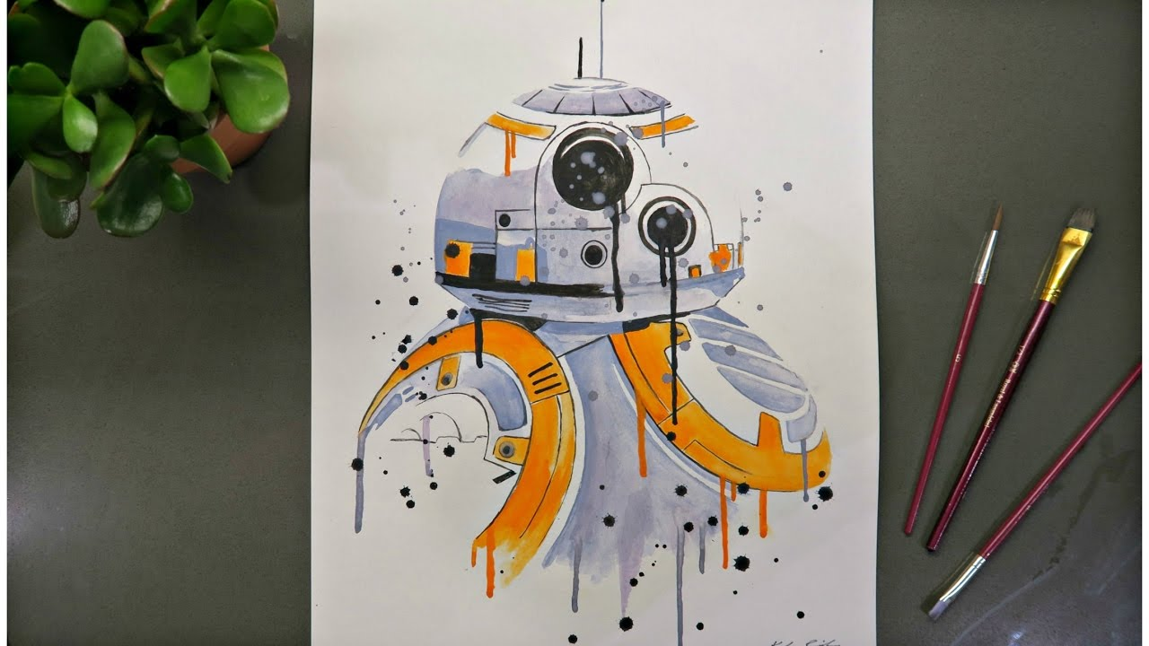 495d91a23 BB-8 from Star Wars | Watercolor Time Lapse - YouTube