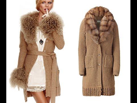 вязаное пальто спицами для женщин 2019 Knitted Coat Spokes For