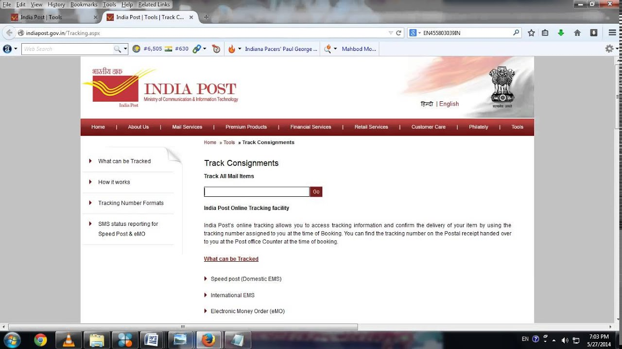 Tracking number formats - How To Track Speedpost Online Indiapost