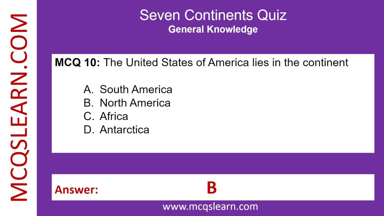Attractive Seven Continents Quiz   MCQsLearn Free Videos