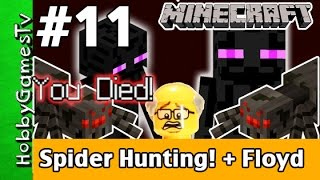 Minecraft Floyd #11 Spider Hunting!  Xbox 360 Gameplay Hobbykids + Lego Floyd by HobbyGamesTV
