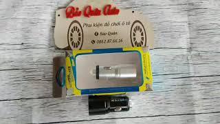 Tẩu sạc 2 cổng USB trên ô tô-Điên áp 12V-24V kiêm đầu phá kính thoát hiểm