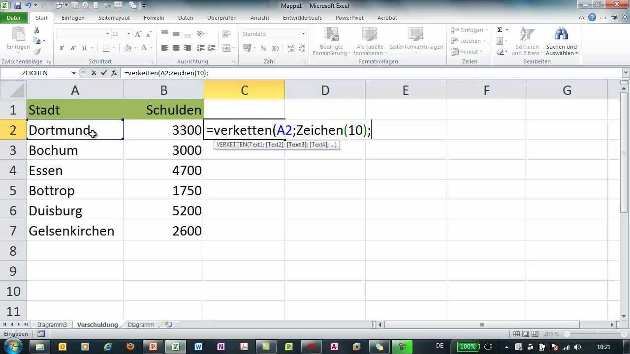 Excel - Achsenbeschriftung im Diagramm zusätzlich mit Werten - YouTube