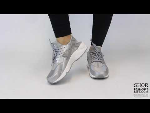 Women's Nike Huarache RunMetallic SilverOn feet Video at Exclucity