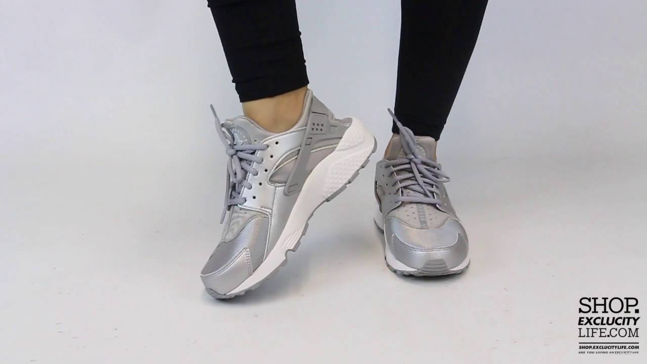 b50abc2618ca9 Women s Nike Huarache Run Metallic Silver On feet Video at Exclucity ...
