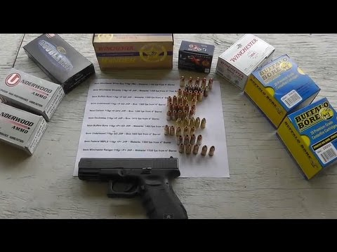 Glock 19 9mm 115gr Velocities & Accuracy with Corbon Doubletap Underwood  Winchester Buffalo Bore etc