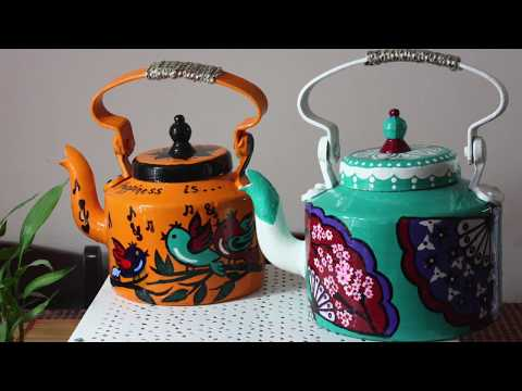 How to Hand paint Aluminum Tea Kettle | Recycle Old Tea Kettle | DIY Home Decor