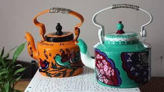 How to Hand paint Aluminum Tea Kettle | Recycle Old Tea Kettle | DIY Home Decor