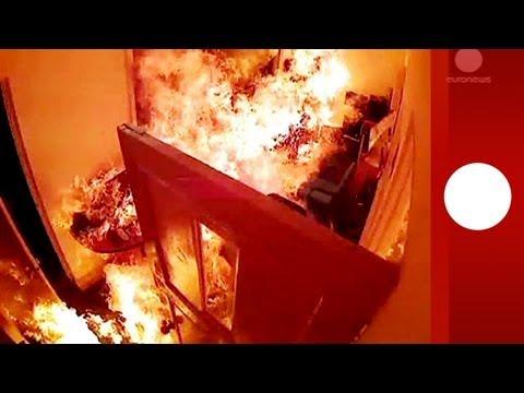 Arson attack caught on CCTV: Masked men torch TV station in Maldives