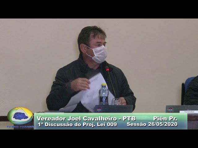 Vereador Joel Cavalheiro   PTB  1ª Discussão Proj  Lei 009 Sessão 26 05 2020