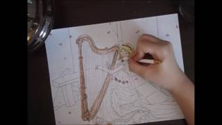 Requested video!!!!!  How to draw a girl playing the harp! (freehand art!) :)