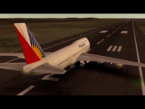 Philippine Airlines Boeing B747 - 400 takeoff at Singapore Changi Airport