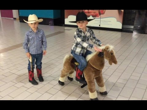 Cute Cowboys Ride the Little Tikes Giddy Up 'N Go Pony