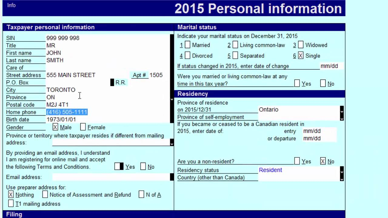 Preparing Canadian Personal T1 Returns €� Inputting Proper Personal Rmation (part 1 Of 5)
