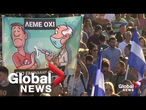 Thousands rally in Athens against mandatory COVID-19 vaccinations for healthcare workers