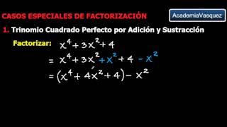 Factorización: Trinomio Cuadrado Perfecto por  Adición y Sustracción
