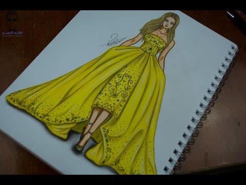 How To Draw Fashion Designs تعليم رسم فستان باللون الاصفر Youtube
