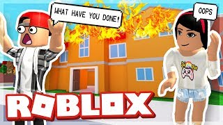 MY GIRLFRIEND BURNT DOWN OUR HOUSE - ROBLOX FIRE FIGHTING SIMULATOR
