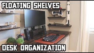 Upgrade Your Home Office Desk Setup // Floating Shelves